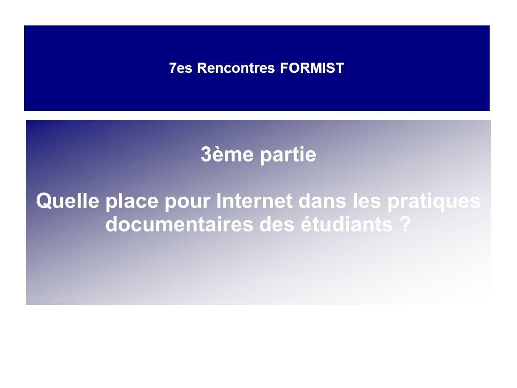 3ème partie Quelle place pour Internet dans les pratiques documentaires des étudiants ? 7es Rencontres FORMIST