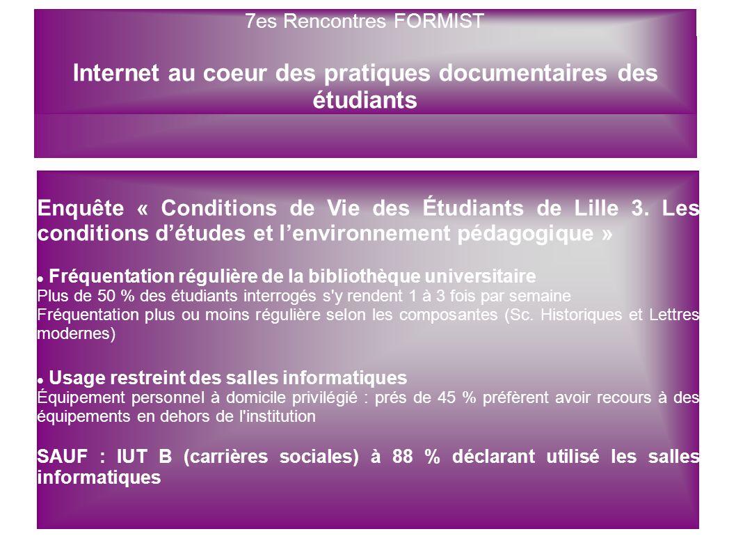 7es Rencontres FORMIST Enquête « Conditions de Vie des Étudiants de Lille 3. Les conditions détudes et lenvironnement pédagogique » Fréquentation régu