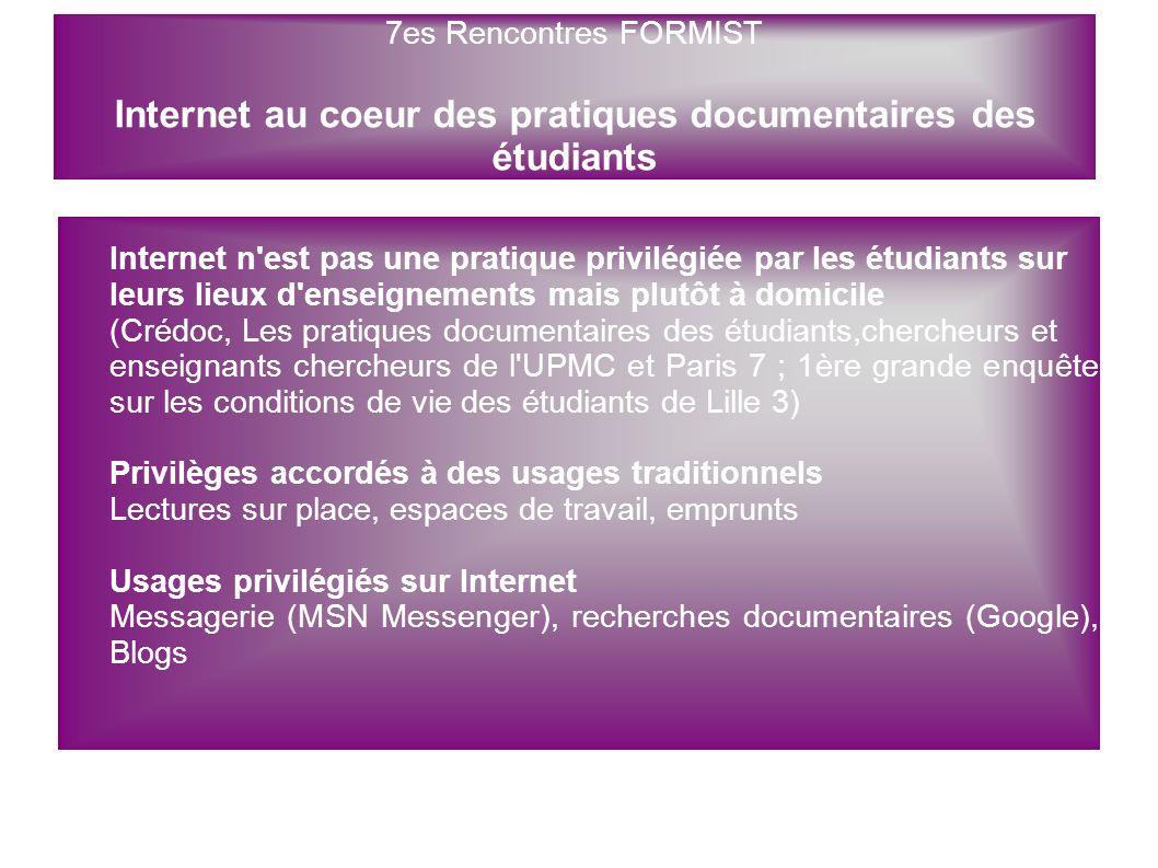 Internet n'est pas une pratique privilégiée par les étudiants sur leurs lieux d'enseignements mais plutôt à domicile (Crédoc, Les pratiques documentai