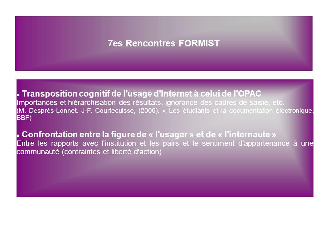 7es Rencontres FORMIST Transposition cognitif de l'usage d'Internet à celui de l'OPAC Importances et hiérarchisation des résultats, ignorance des cadr
