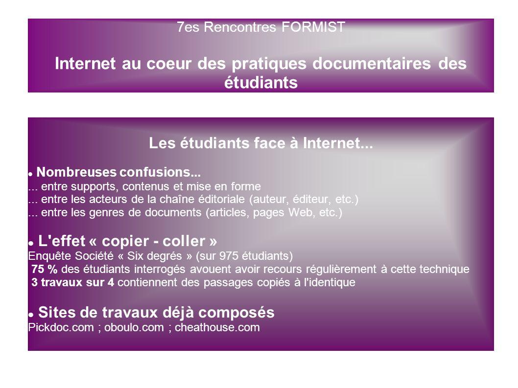 Les étudiants face à Internet... Nombreuses confusions...... entre supports, contenus et mise en forme... entre les acteurs de la chaîne éditoriale (a