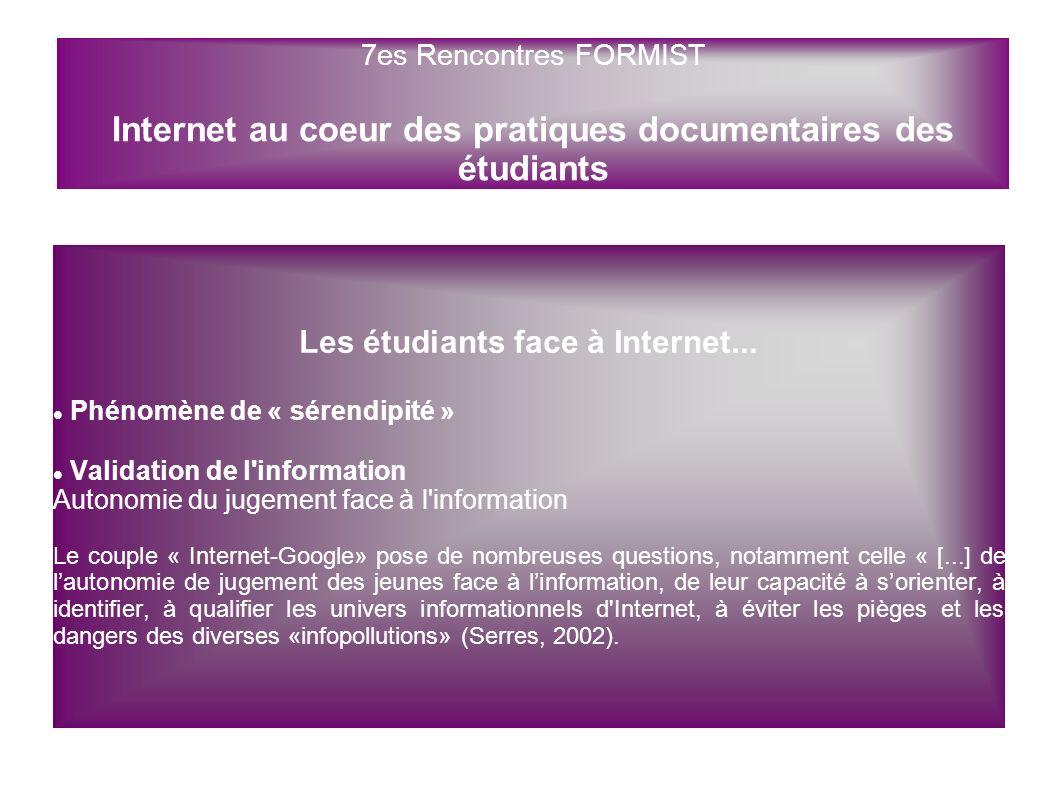 Les étudiants face à Internet... Phénomène de « sérendipité » Validation de l'information Autonomie du jugement face à l'information Le couple « Inter