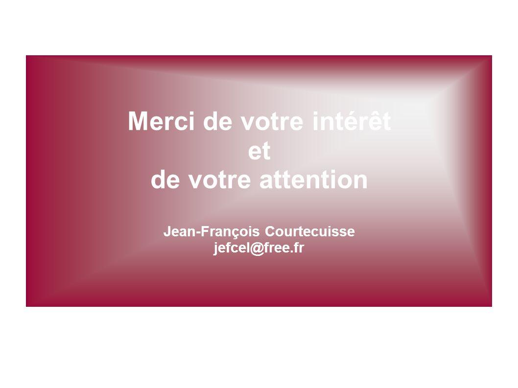 Merci de votre intérêt et de votre attention Jean-François Courtecuisse jefcel@free.fr