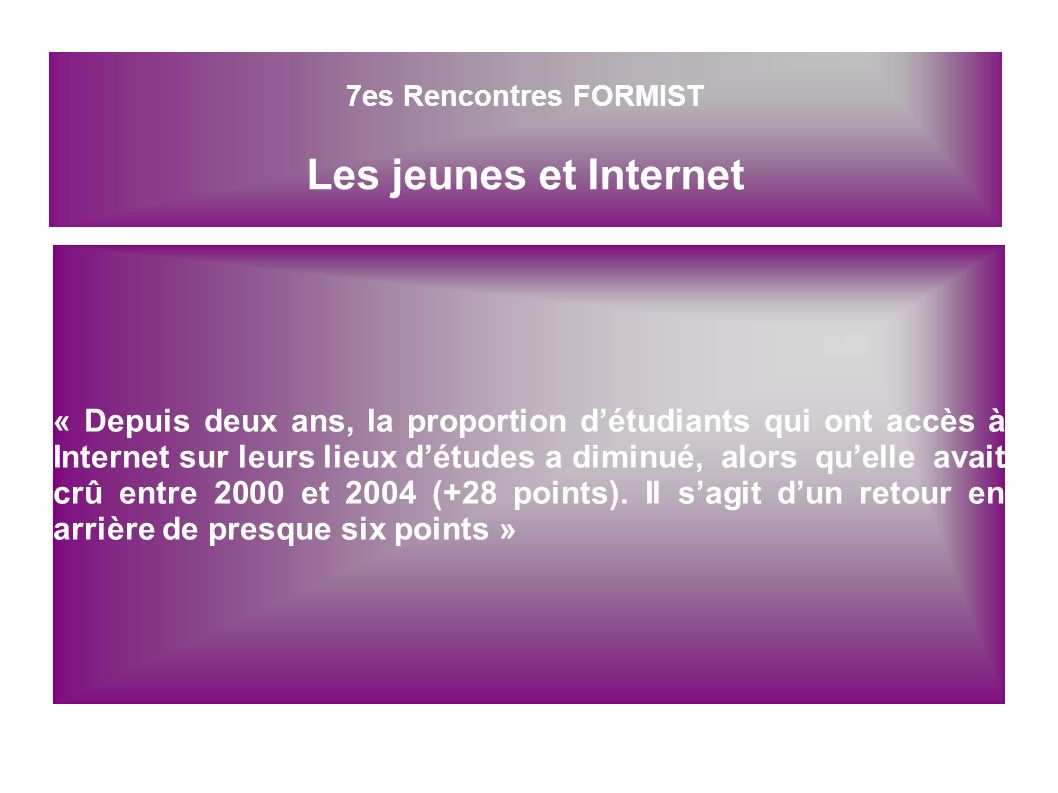 « Depuis deux ans, la proportion détudiants qui ont accès à Internet sur leurs lieux détudes adiminué, alors quelle avait crû entre 2000 et 2004 (+28