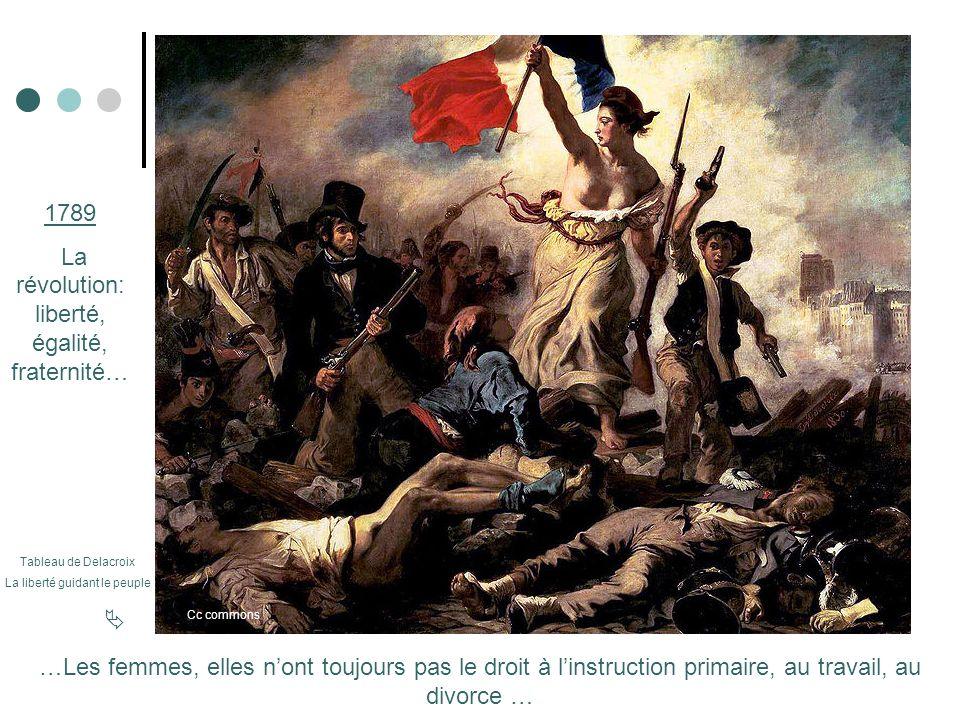 1789 La révolution: liberté, égalité, fraternité… …Les femmes, elles nont toujours pas le droit à linstruction primaire, au travail, au divorce … Tabl