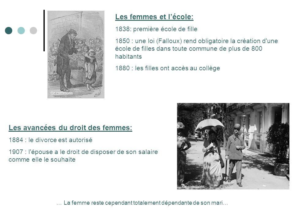 Les femmes et lécole: 1838: première école de fille 1850 : une loi (Falloux) rend obligatoire la création d'une école de filles dans toute commune de