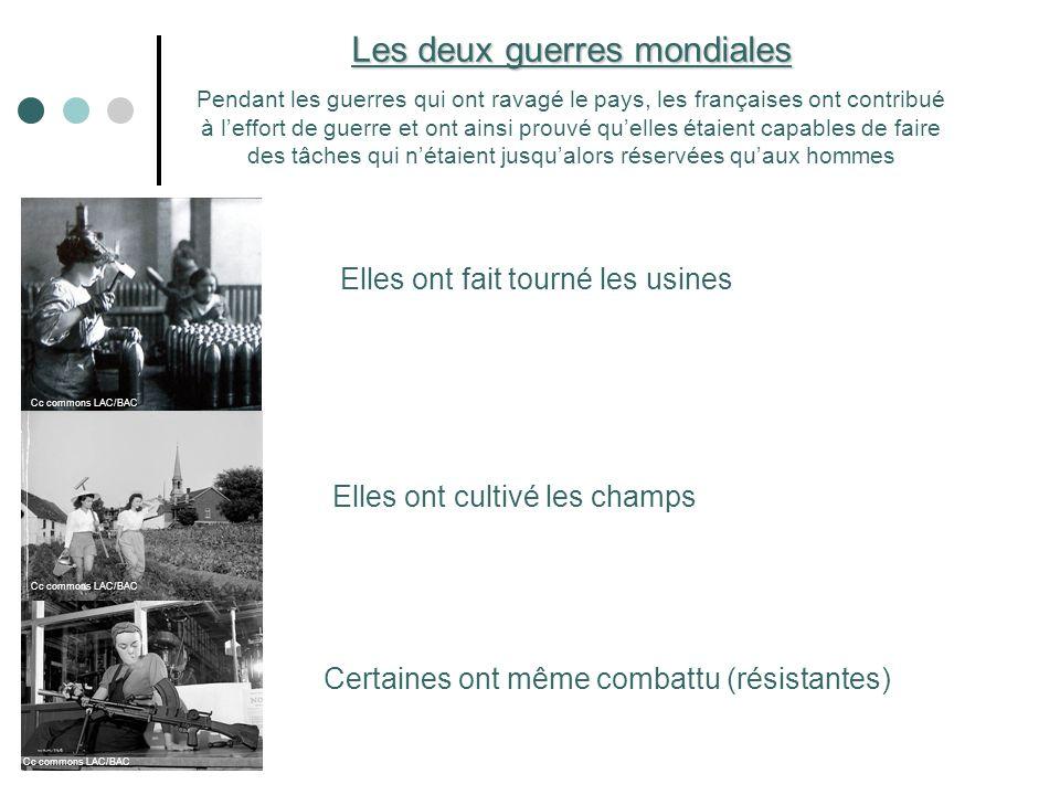 Les deux guerres mondiales Pendant les guerres qui ont ravagé le pays, les françaises ont contribué à leffort de guerre et ont ainsi prouvé quelles ét