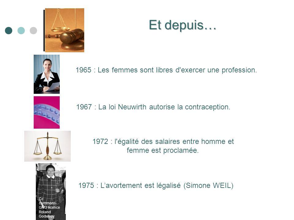 1965 : Les femmes sont libres d'exercer une profession. Cc commons- GNU licence Roland Godefroy Et depuis… 1967 : La loi Neuwirth autorise la contrace