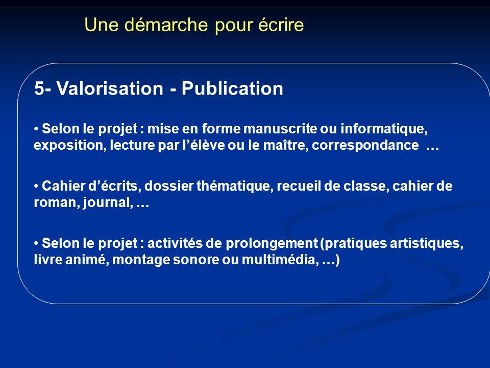 Une démarche pour écrire 5- Valorisation - Publication Selon le projet : mise en forme manuscrite ou informatique, exposition, lecture par lélève ou l
