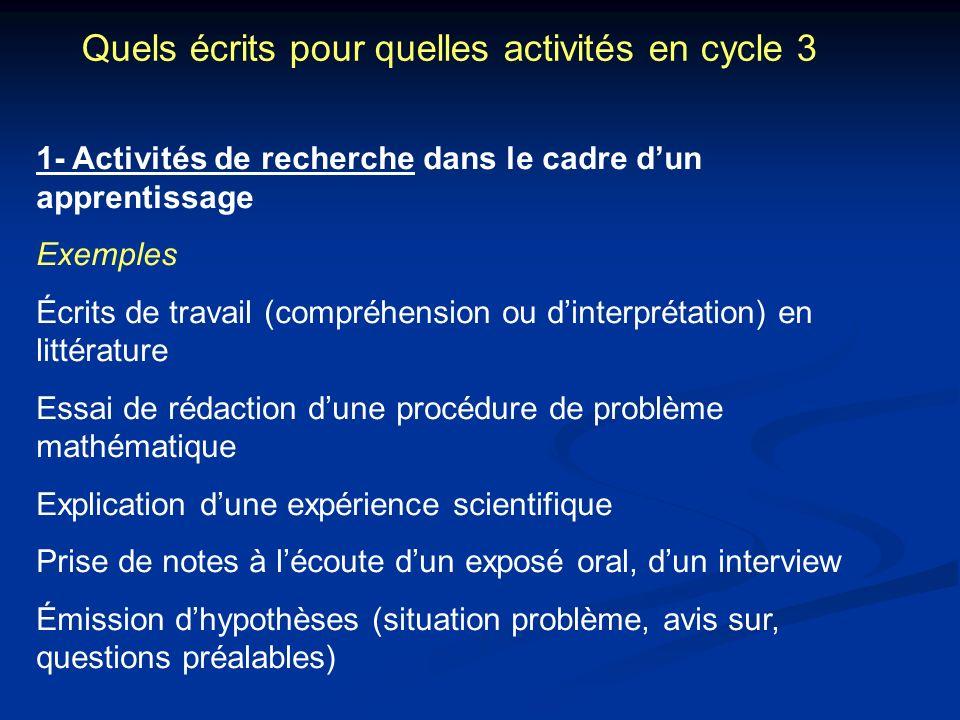 Quels écrits pour quelles activités en cycle 3 1- Activités de recherche dans le cadre dun apprentissage Exemples Écrits de travail (compréhension ou