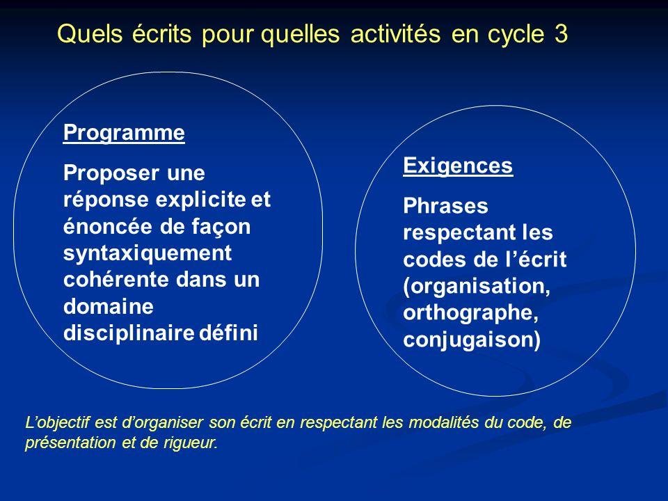 Quels écrits pour quelles activités en cycle 3 Programme Proposer une réponse explicite et énoncée de façon syntaxiquement cohérente dans un domaine d
