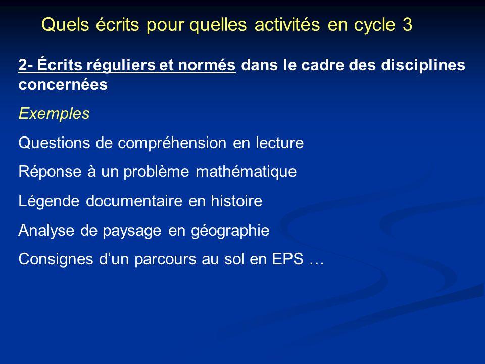 Quels écrits pour quelles activités en cycle 3 2- Écrits réguliers et normés dans le cadre des disciplines concernées Exemples Questions de compréhens
