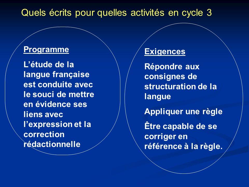 Quels écrits pour quelles activités en cycle 3 Programme Létude de la langue française est conduite avec le souci de mettre en évidence ses liens avec