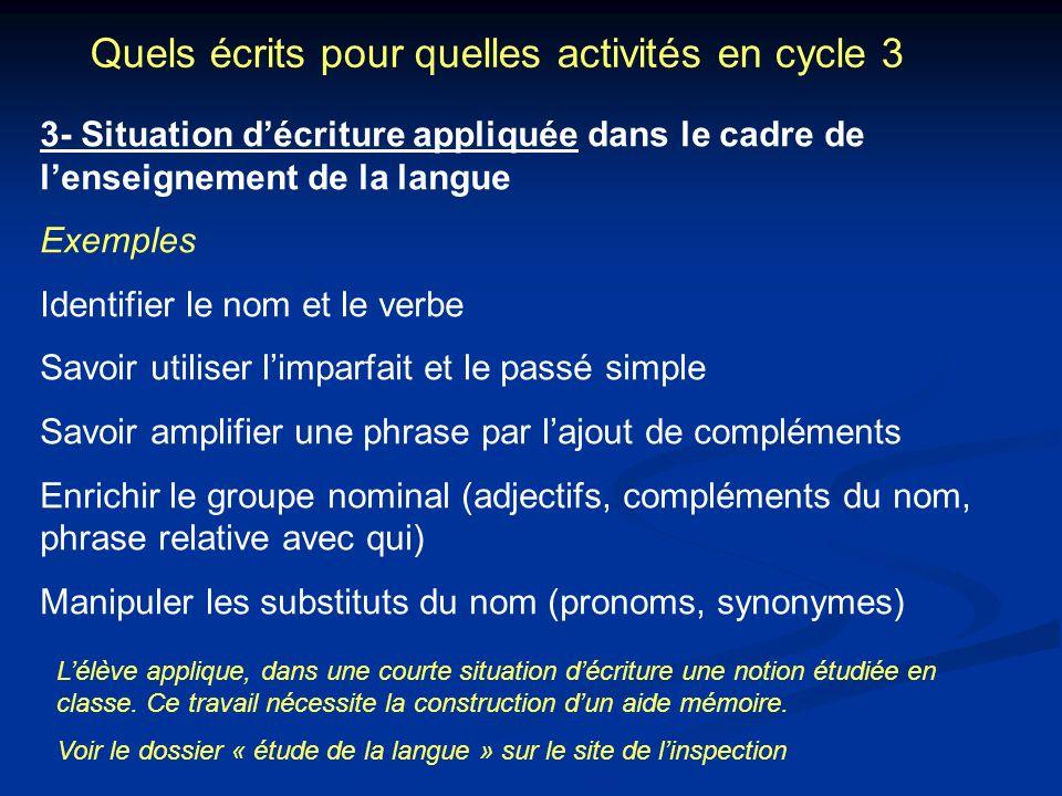 Quels écrits pour quelles activités en cycle 3 3- Situation décriture appliquée dans le cadre de lenseignement de la langue Exemples Identifier le nom