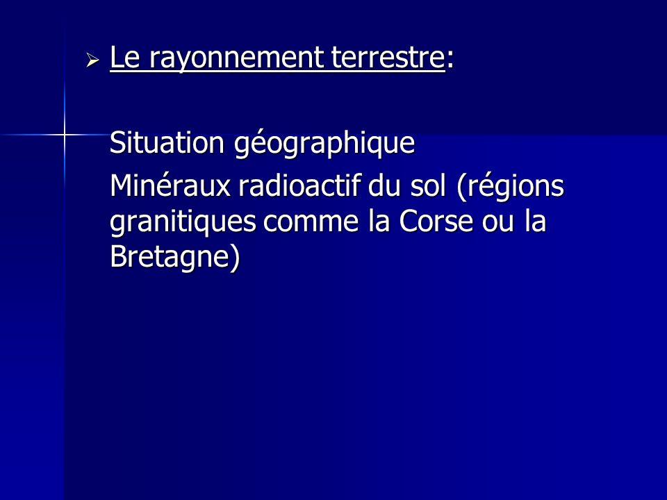 Le rayonnement terrestre: Le rayonnement terrestre: Situation géographique Minéraux radioactif du sol (régions granitiques comme la Corse ou la Bretag