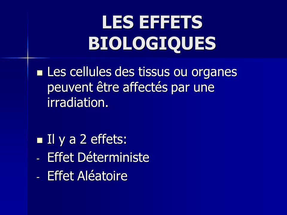 LES EFFETS BIOLOGIQUES Les cellules des tissus ou organes peuvent être affectés par une irradiation. Les cellules des tissus ou organes peuvent être a