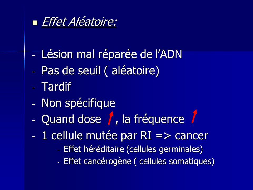 Effet Aléatoire: Effet Aléatoire: - Lésion mal réparée de lADN - Pas de seuil ( aléatoire) - Tardif - Non spécifique - Quand dose, la fréquence - 1 ce