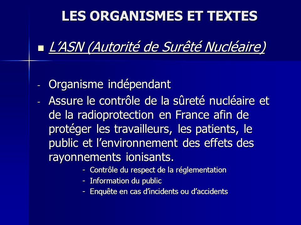 LES ORGANISMES ET TEXTES LASN (Autorité de Surêté Nucléaire) LASN (Autorité de Surêté Nucléaire) - Organisme indépendant - Assure le contrôle de la sû