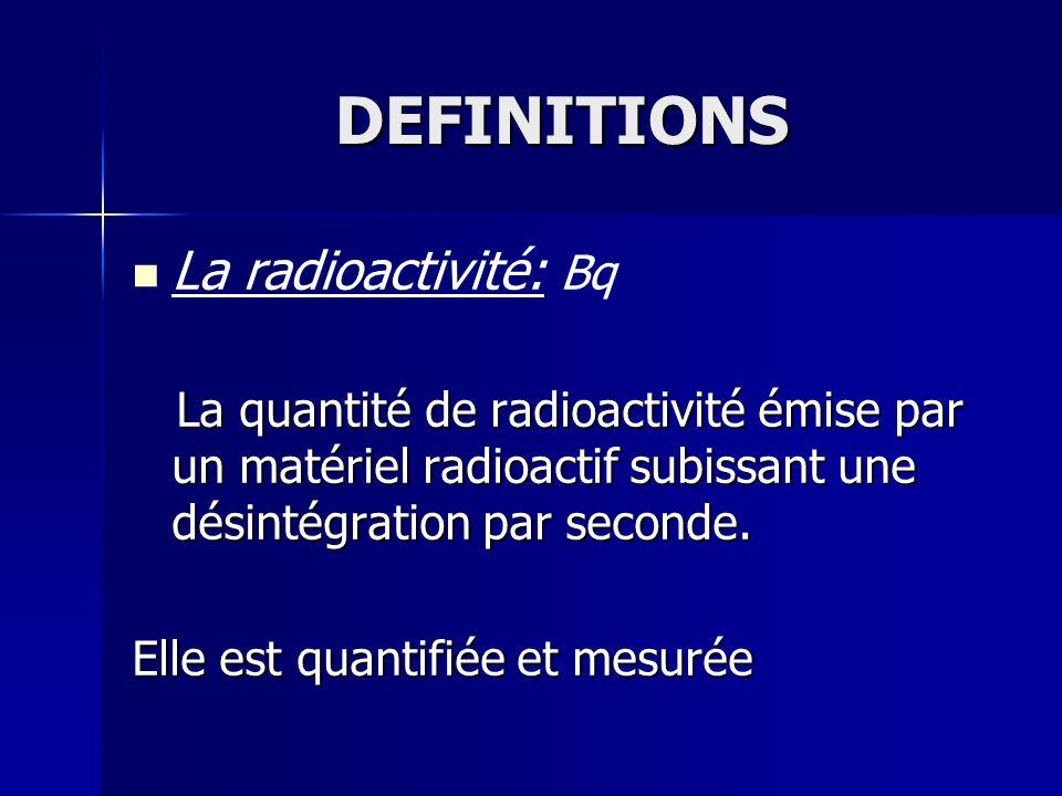 DEFINITIONS La radioactivité: Bq La quantité de radioactivité émise par un matériel radioactif subissant une désintégration par seconde. La quantité d