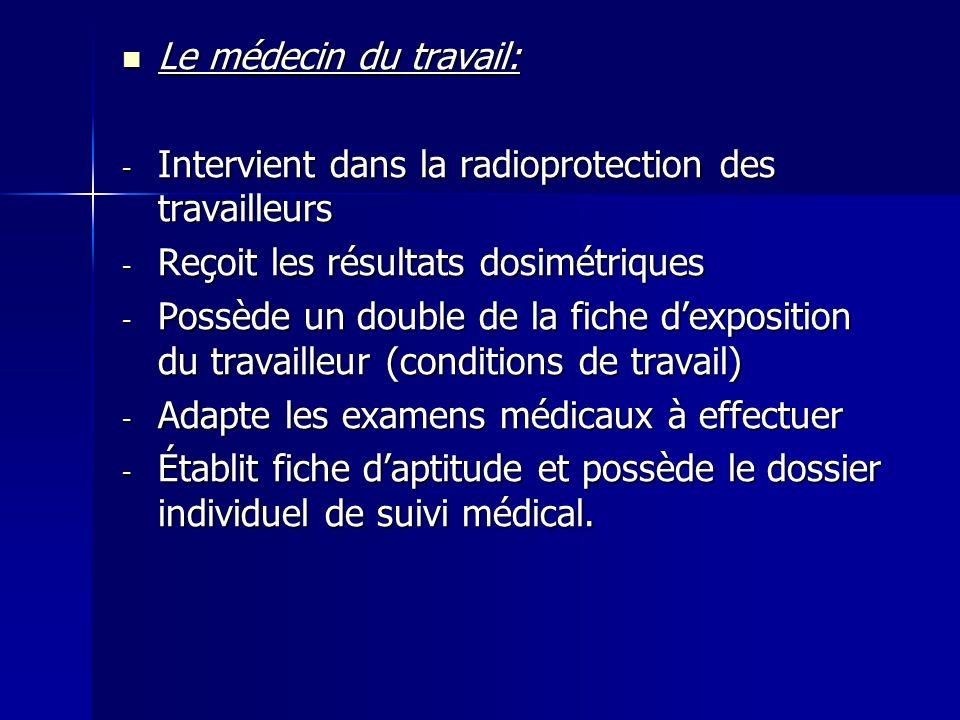 Le médecin du travail: Le médecin du travail: - Intervient dans la radioprotection des travailleurs - Reçoit les résultats dosimétriques - Possède un