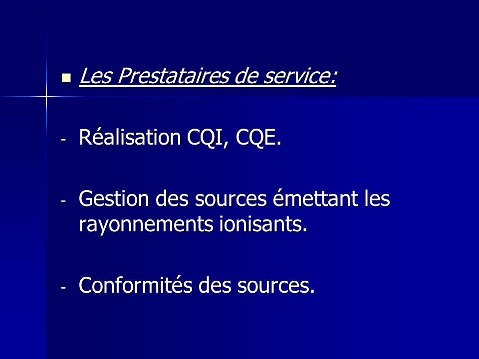 Les Prestataires de service: Les Prestataires de service: - Réalisation CQI, CQE. - Gestion des sources émettant les rayonnements ionisants. - Conform
