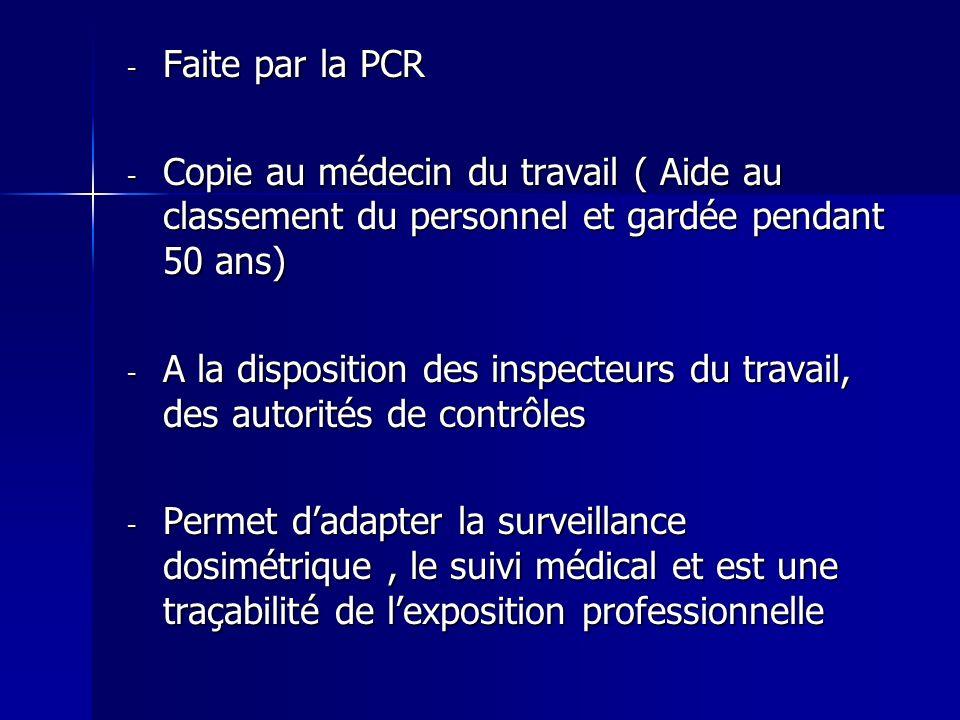 - Faite par la PCR - Copie au médecin du travail ( Aide au classement du personnel et gardée pendant 50 ans) - A la disposition des inspecteurs du tra