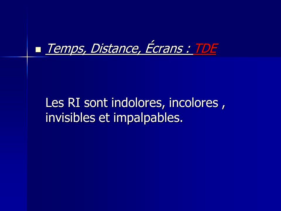 Temps, Distance, Écrans : TDE Temps, Distance, Écrans : TDE Les RI sont indolores, incolores, invisibles et impalpables.