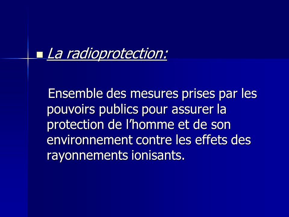 La radioprotection: La radioprotection: Ensemble des mesures prises par les pouvoirs publics pour assurer la protection de lhomme et de son environnem