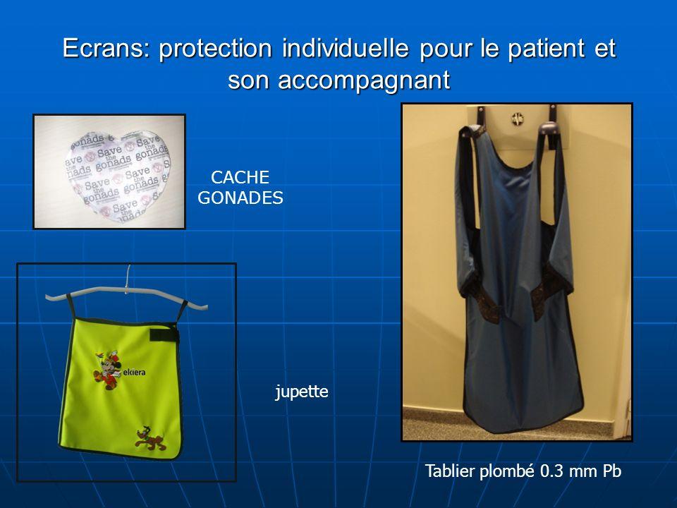 Ecrans: protection individuelle pour le patient et son accompagnant CACHE GONADES Tablier plombé 0.3 mm Pb jupette