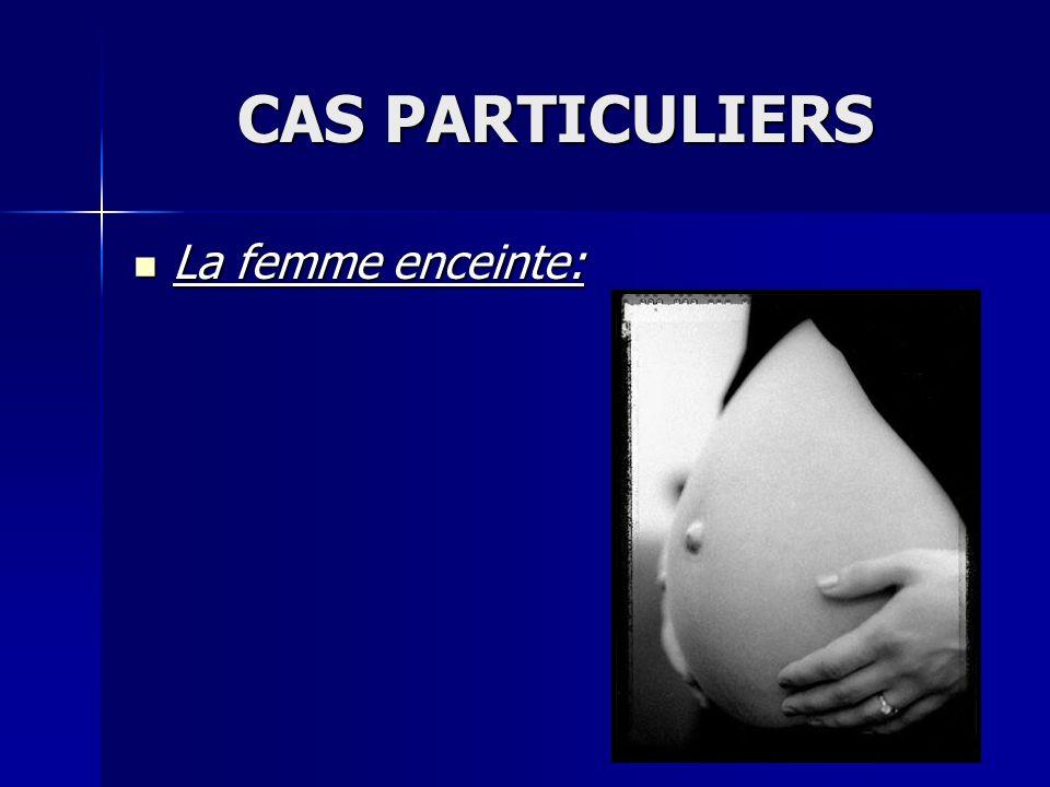 La femme enceinte: La femme enceinte: CAS PARTICULIERS