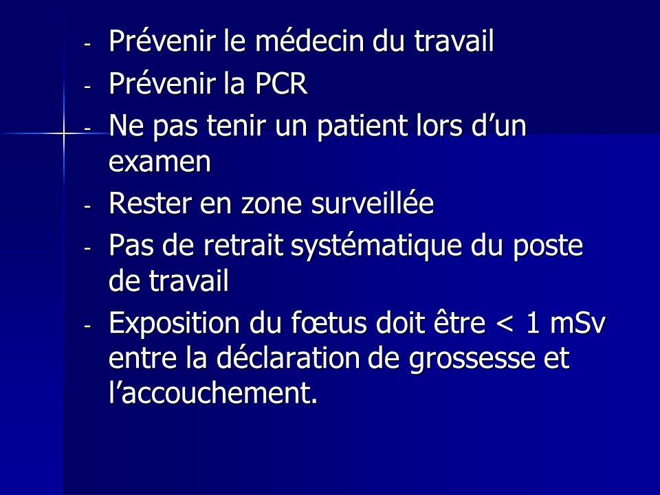- Prévenir le médecin du travail - Prévenir la PCR - Ne pas tenir un patient lors dun examen - Rester en zone surveillée - Pas de retrait systématique