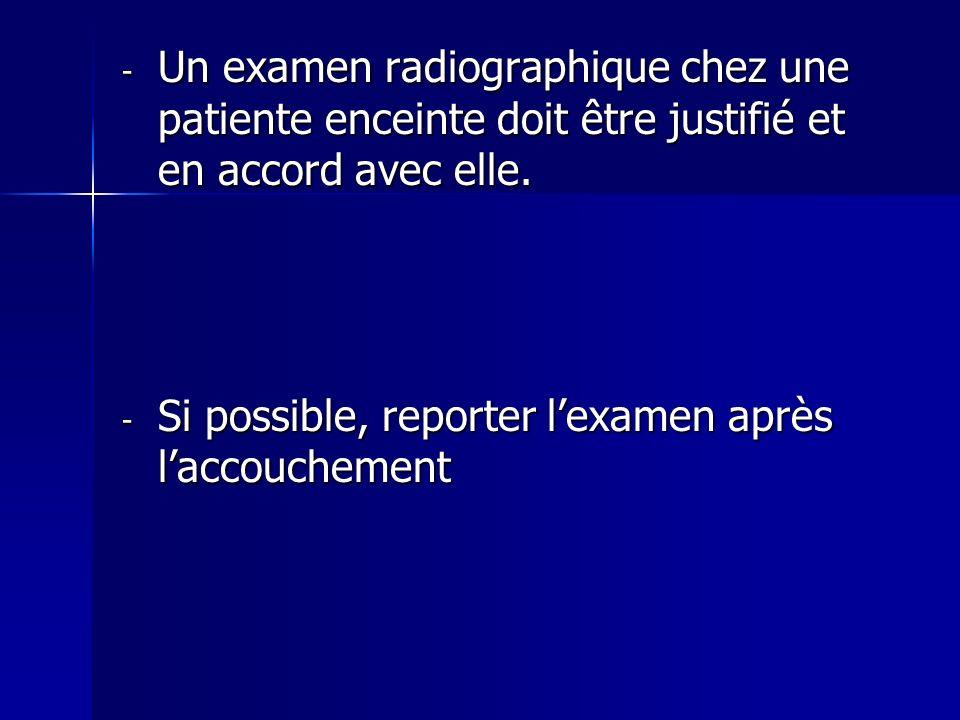 - Un examen radiographique chez une patiente enceinte doit être justifié et en accord avec elle. - Si possible, reporter lexamen après laccouchement