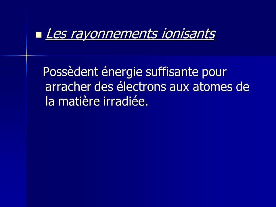 Les rayonnements ionisants Les rayonnements ionisants Possèdent énergie suffisante pour arracher des électrons aux atomes de la matière irradiée. Poss