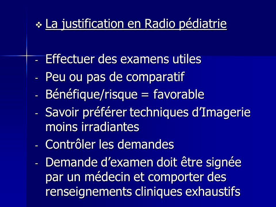 La justification en Radio pédiatrie La justification en Radio pédiatrie - Effectuer des examens utiles - Peu ou pas de comparatif - Bénéfique/risque =