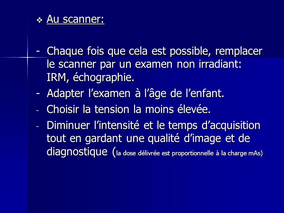 Au scanner: Au scanner: - Chaque fois que cela est possible, remplacer le scanner par un examen non irradiant: IRM, échographie. - Adapter lexamen à l