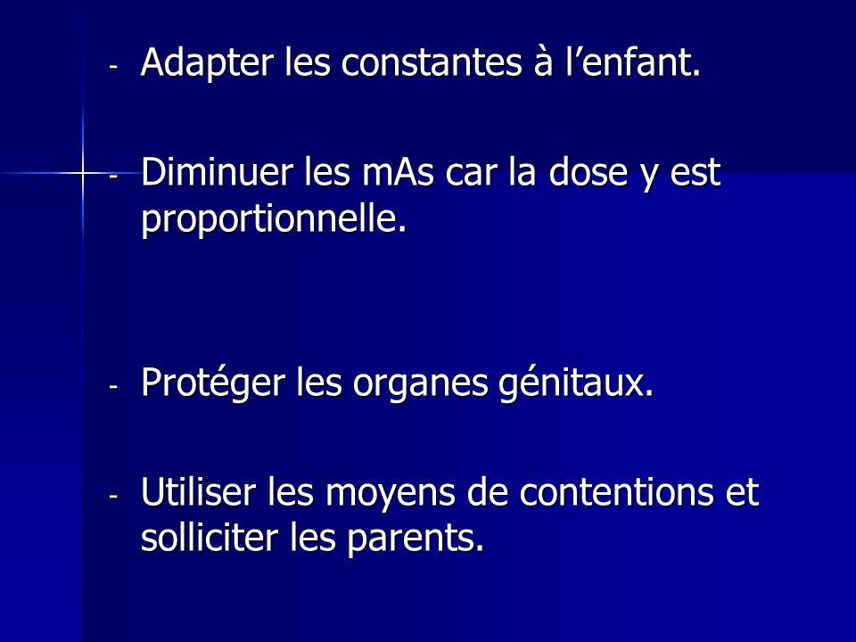 - Adapter les constantes à lenfant. - Diminuer les mAs car la dose y est proportionnelle. - Protéger les organes génitaux. - Utiliser les moyens de co