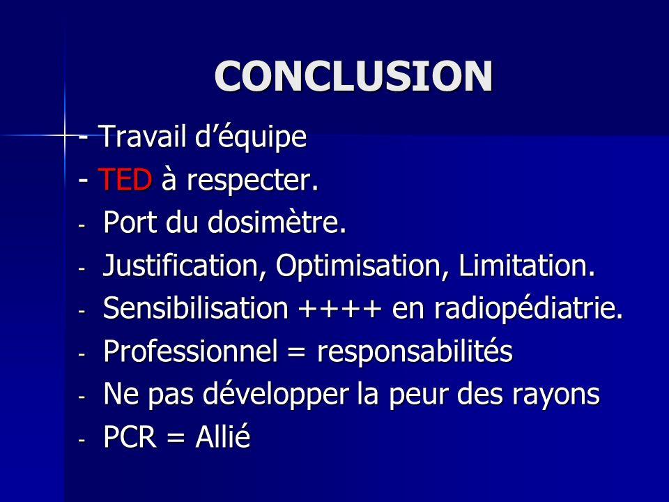 CONCLUSION - Travail déquipe - TED à respecter. - Port du dosimètre. - Justification, Optimisation, Limitation. - Sensibilisation ++++ en radiopédiatr