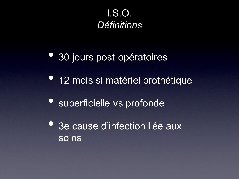 30 jours post-opératoires 12 mois si matériel prothétique superficielle vs profonde 3e cause dinfection liée aux soins I.S.O. Définitions