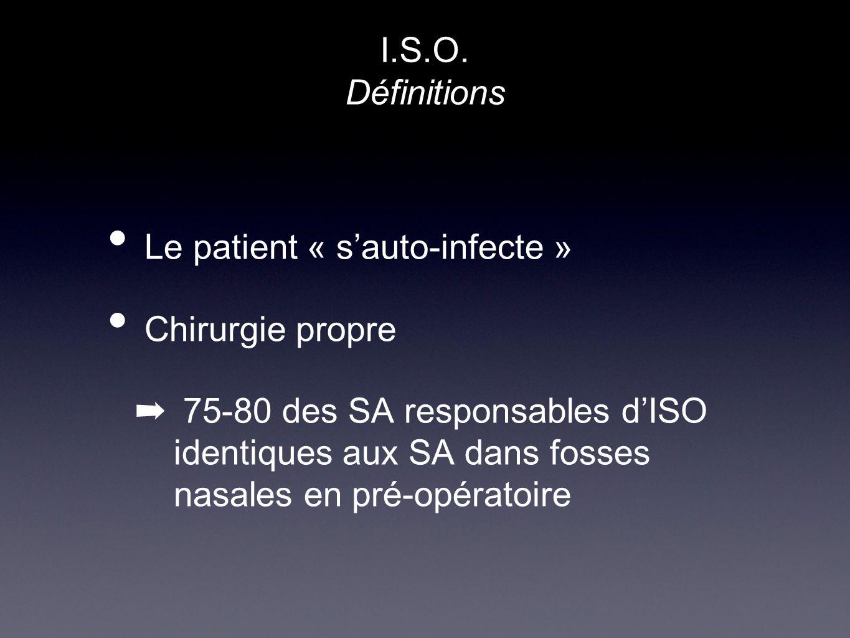 Le patient « sauto-infecte » Chirurgie propre 75-80 des SA responsables dISO identiques aux SA dans fosses nasales en pré-opératoire I.S.O. Définition