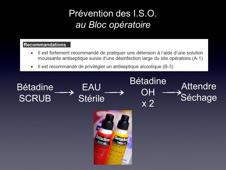 Prévention des I.S.O. au Bloc opératoire Bétadine SCRUB EAU Stérile Bétadine OH x 2 Attendre Séchage