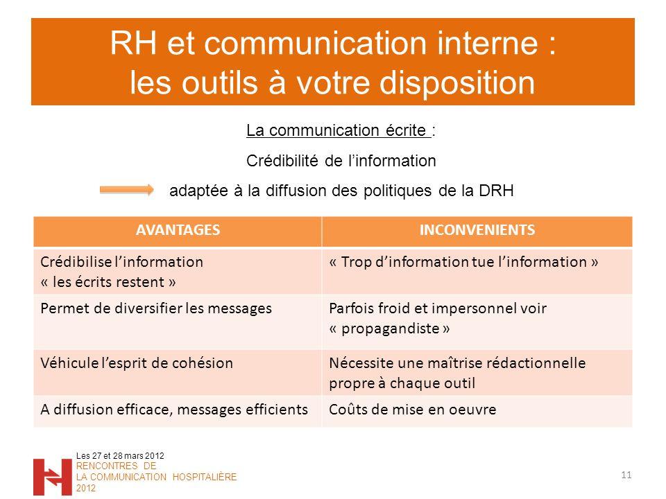 RH et communication interne : les outils à votre disposition 11 Les 27 et 28 mars 2012 RENCONTRES DE LA COMMUNICATION HOSPITALIÈRE 2012 La communicati