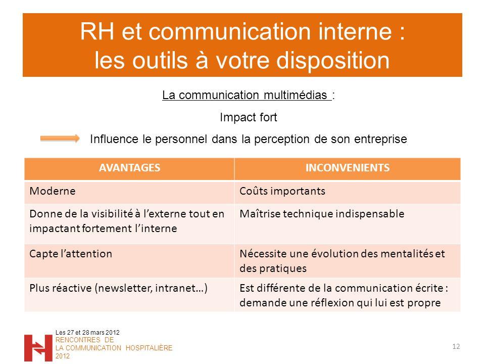 RH et communication interne : les outils à votre disposition 12 Les 27 et 28 mars 2012 RENCONTRES DE LA COMMUNICATION HOSPITALIÈRE 2012 La communicati