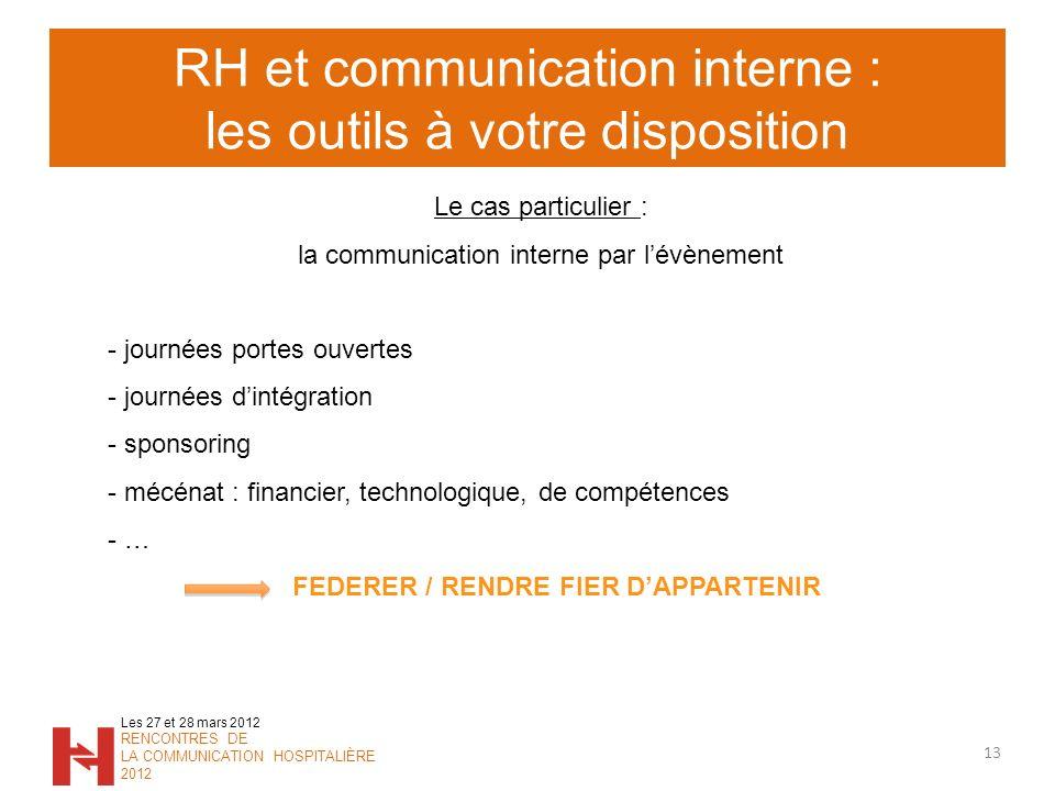 RH et communication interne : les outils à votre disposition 13 Les 27 et 28 mars 2012 RENCONTRES DE LA COMMUNICATION HOSPITALIÈRE 2012 Le cas particu