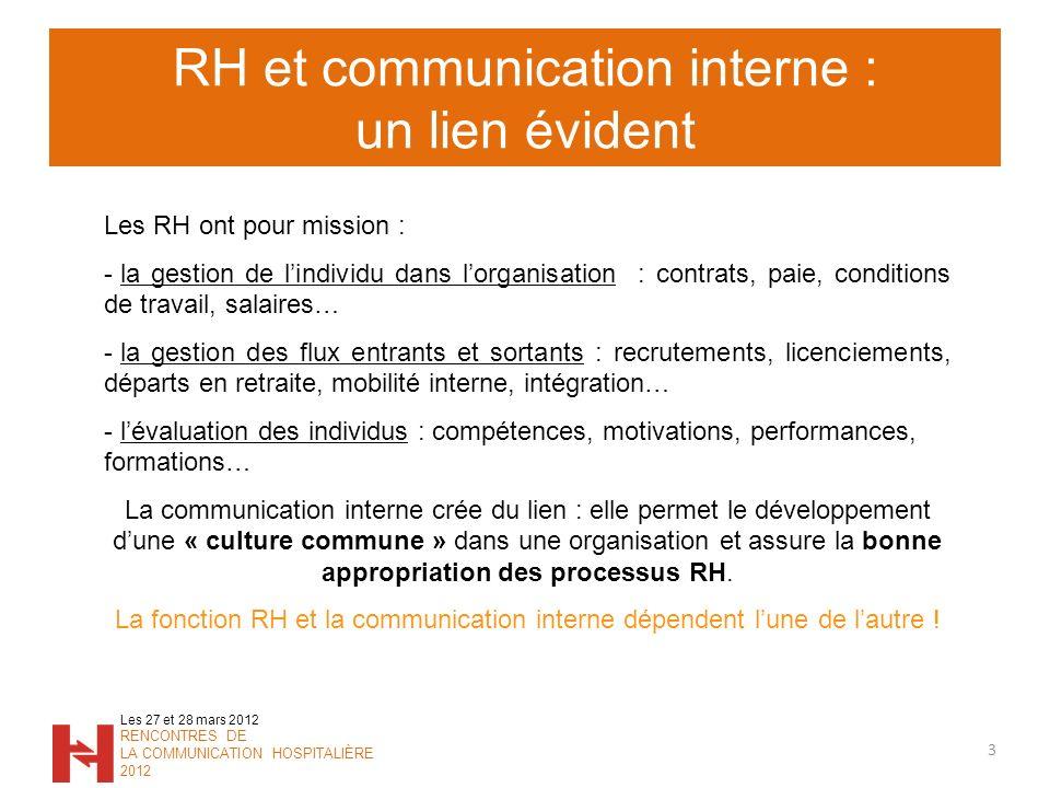 RH et communication interne : un lien évident 3 Les 27 et 28 mars 2012 RENCONTRES DE LA COMMUNICATION HOSPITALIÈRE 2012 Les RH ont pour mission : - la