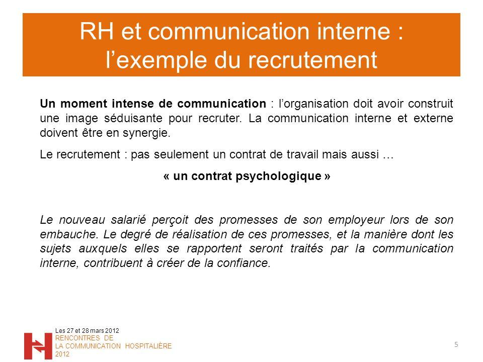 RH et communication interne : lexemple du recrutement 5 Les 27 et 28 mars 2012 RENCONTRES DE LA COMMUNICATION HOSPITALIÈRE 2012 Un moment intense de c