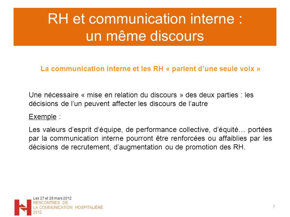 RH et communication interne : un même discours 7 Les 27 et 28 mars 2012 RENCONTRES DE LA COMMUNICATION HOSPITALIÈRE 2012 La communication interne et l
