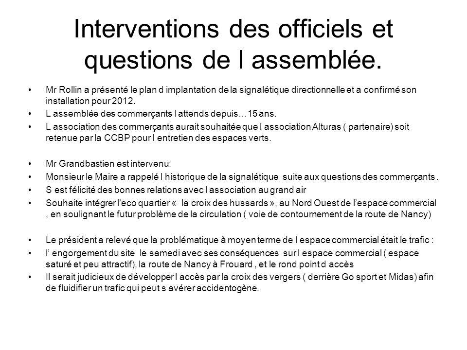 Interventions des officiels et questions de l assemblée. Mr Rollin a présenté le plan d implantation de la signalétique directionnelle et a confirmé s