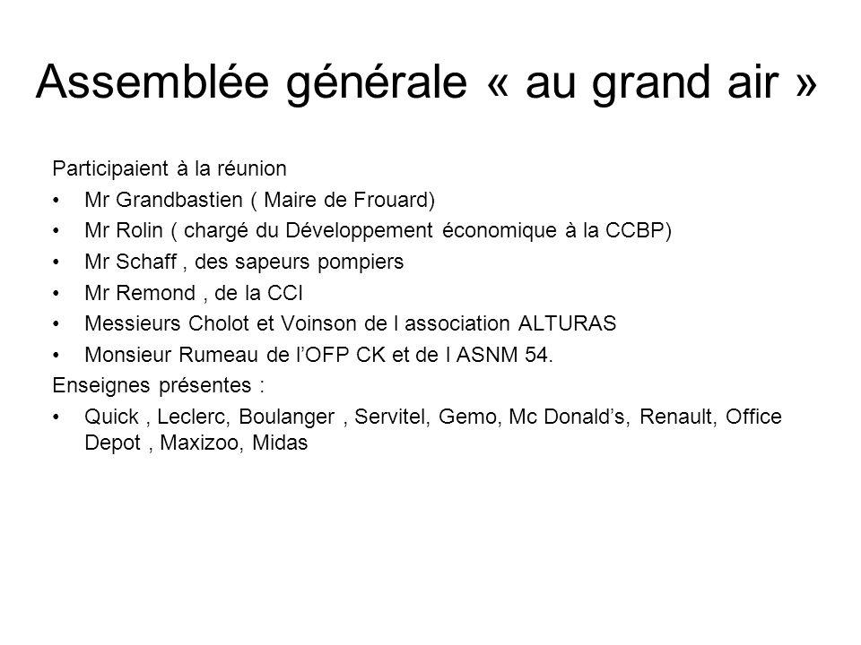 Assemblée générale « au grand air » Participaient à la réunion Mr Grandbastien ( Maire de Frouard) Mr Rolin ( chargé du Développement économique à la