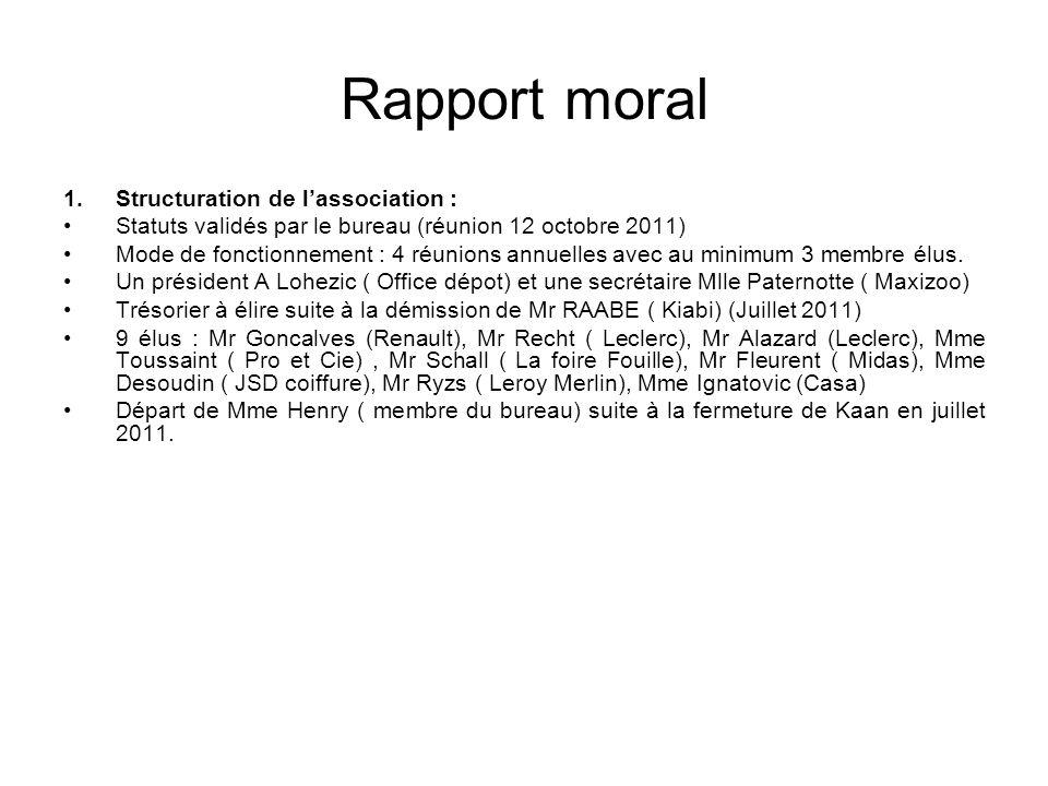 Rapport moral 1.Structuration de lassociation : Statuts validés par le bureau (réunion 12 octobre 2011) Mode de fonctionnement : 4 réunions annuelles