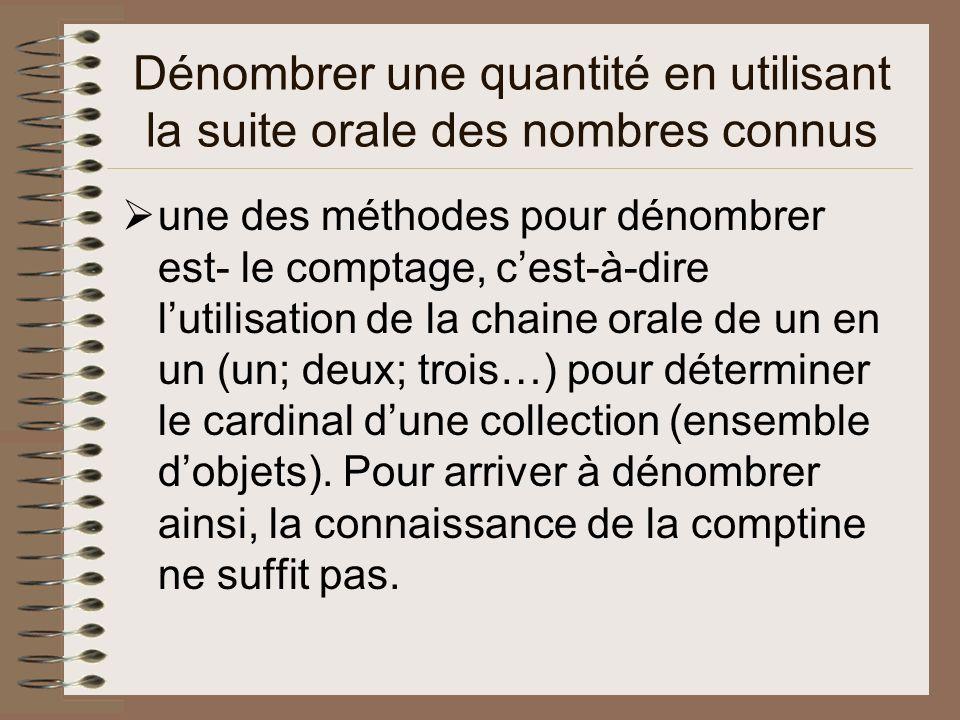 Dénombrer une quantité en utilisant la suite orale des nombres connus une des méthodes pour dénombrer est- le comptage, cest-à-dire lutilisation de la chaine orale de un en un (un; deux; trois…) pour déterminer le cardinal dune collection (ensemble dobjets).